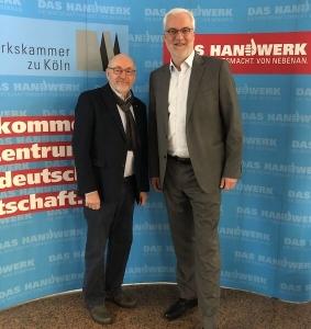 HWK Köln, 19.2.2020: Der Vorsitzende der AGSREGIOAACHEN , André Brümmer nutzt ein Treffen mit Garrelt Duin (Hauptgeschäftsführer der Handwerkskammer Köln) zu einem Interview.